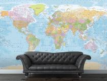 1Wall Modrá politická mapa světa 315x232