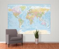 1Wall Politická mapa světa modrá 158x232
