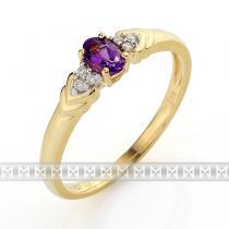 Pretis Luxusní zásnubní zlatý prsten s diamanty 6ks - 0,03ct a fialovým ametystem 0,2ct 3810455-5-54-95