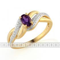 Pretis Zásnubní luxusní zlatý prsten s diamanty a fialovým velkým ametystem 0,47ct 3811741-5-57-95