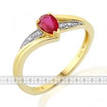 Pretis Luxusní zásnubní zlatý prsten s velkým červeným pravým rubínem slza 0,37ct 3811952-5-54-94