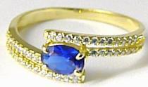 Zlatokov zásnubní luxusní prsten s modrým safírem zirkony 588/2,85gr Z083 226041083