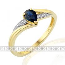 Pretis Luxusní diamantový zásnubní prsten s modrým safírem 0,62ct 3811949-5-54-92