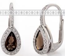 Pretis Diamantové zlaté náušnice s přírodními kameny záhněda - smoky quartz 3880806 3880806-0-0-88