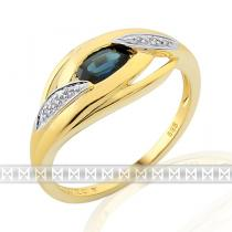 Pretis Prsten s diamantem, žluté zlato briliant, safír v kombinaci bílé zlato, 3811918