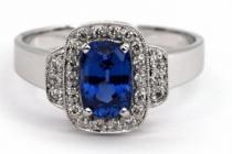 Optima Diamant Luxusní velký diamantový zásnubní prsten se safírem 1,598ct a diamanty J-19843-11