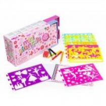 FOR BABY Kreslicí šablony s pastelkami mini box pro holčičky