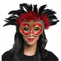 Maska s peřím červená