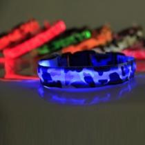 Reedog svítící obojek pro malé, střední a velké psy maskáčový - modrá 22 - 40 cm