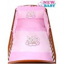 NEW BABY 3-dílné ložní povlečení Bunnies 90/120 růžové