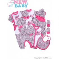 NEW BABY 9-dílná souprava do porodnice Leopardík růžová