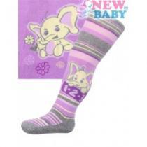 NEW BABY Bavlněné punčocháčky fialové s pruhy a slonem