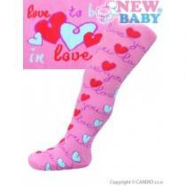 NEW BABY Bavlněné punčocháčky růžové love you