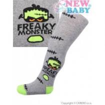 NEW BABY Bavlněné punčocháčky šedé monster