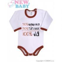 NEW BABY Body s dlouhým rukávem s českým nápisem hnědé