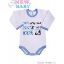 NEW BABY Body s dlouhým rukávem s českým nápisem modré