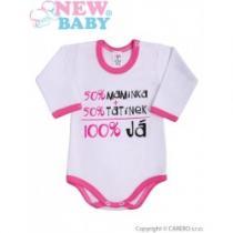 NEW BABY Body s dlouhým rukávem s českým nápisem růžové