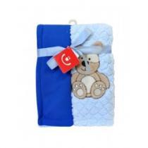 BOBO BABY Dětská dvouvrstvá chlupatá deka modrá s medvědem
