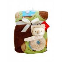 BOBO BABY Dětská oboustranná deka s chrastítkem hnědá