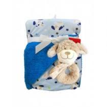 BOBO BABY Dětská oboustranná deka s chrastítkem tmavě modrá