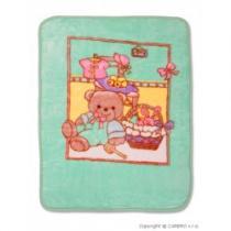 BABY MIX Dětská španělská deka s obrázkem zelená