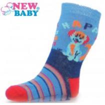 NEW BABY Dětské ponožky s ABS modré happy dog