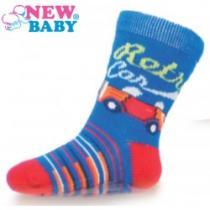 NEW BABY Dětské ponožky s ABS modré retro car