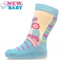 NEW BABY Dětské ponožky s ABS modro-béžové se sovou