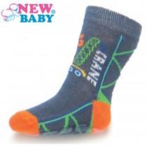 NEW BABY Dětské ponožky s ABS šedé big crane