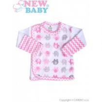 NEW BABY Kojenecká košilka Sloník bílo-růžová