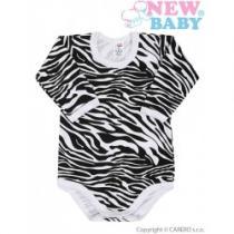 NEW BABY Kojenecké body s dlouhým rukávem celopotištěné Zebra