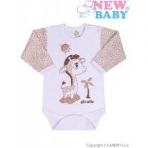 NEW BABY Kojenecké body s dlouhým rukávem Giraffe béžové