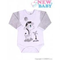NEW BABY Kojenecké body s dlouhým rukávem Giraffe šedé