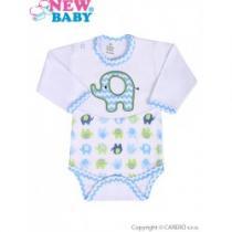 NEW BABY Kojenecké body s dlouhým rukávem Sloník bílo-modré