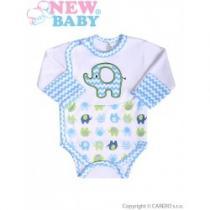 NEW BABY Kojenecké body s dlouhým rukávem Sloník bílo-modré s bočním zapínáním
