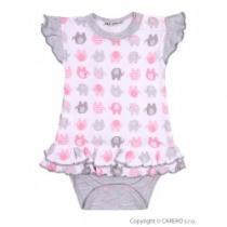 BABY SERVICE Kojenecké body se sukýnkou Sloníci bílo-růžové