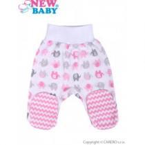 NEW BABY Kojenecké polodupačky Sloník bílo-růžové