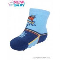 NEW BABY Kojenecké ponožky s ABS modré s lodí