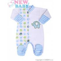 NEW BABY Kojenecký overal Sloník bílo-modrý