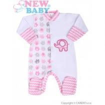 NEW BABY Kojenecký overal Sloník bílo-růžový