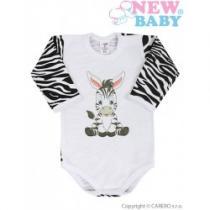 NEW BABY Kojenecké body s dlouhým rukávem Zebra