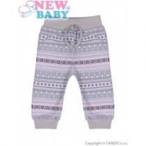 NEW BABY Kojenecké bavlněné tepláčky Etnik šedo-růžové