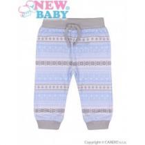 NEW BABY Kojenecké bavlněné tepláčky Etnik šedo-modré