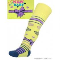 NEW BABY Bavlněné punčocháčky 3xABS žluté s mašličkou