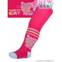 NEW BABY Bavlněné punčocháčky 3xABS růžové happy cat