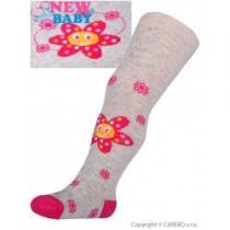 NEW BABY Bavlněné punčocháčky 3xABS šedé s kytičkou