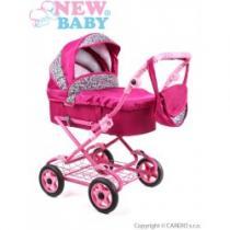 NEW BABY Hluboký kočárek pro panenky tmavě růžový