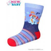 NEW BABY Kojenecké bavlněné ponožky modro-červené happy dog