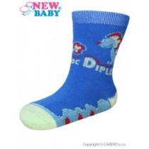 NEW BABY Kojenecké bavlněné ponožky modré s dinosaurem