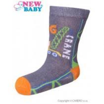 NEW BABY Kojenecké bavlněné ponožky šedé big crane